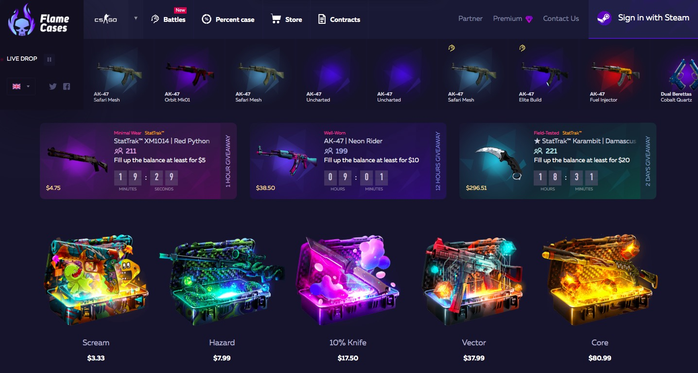 FlameCases main page