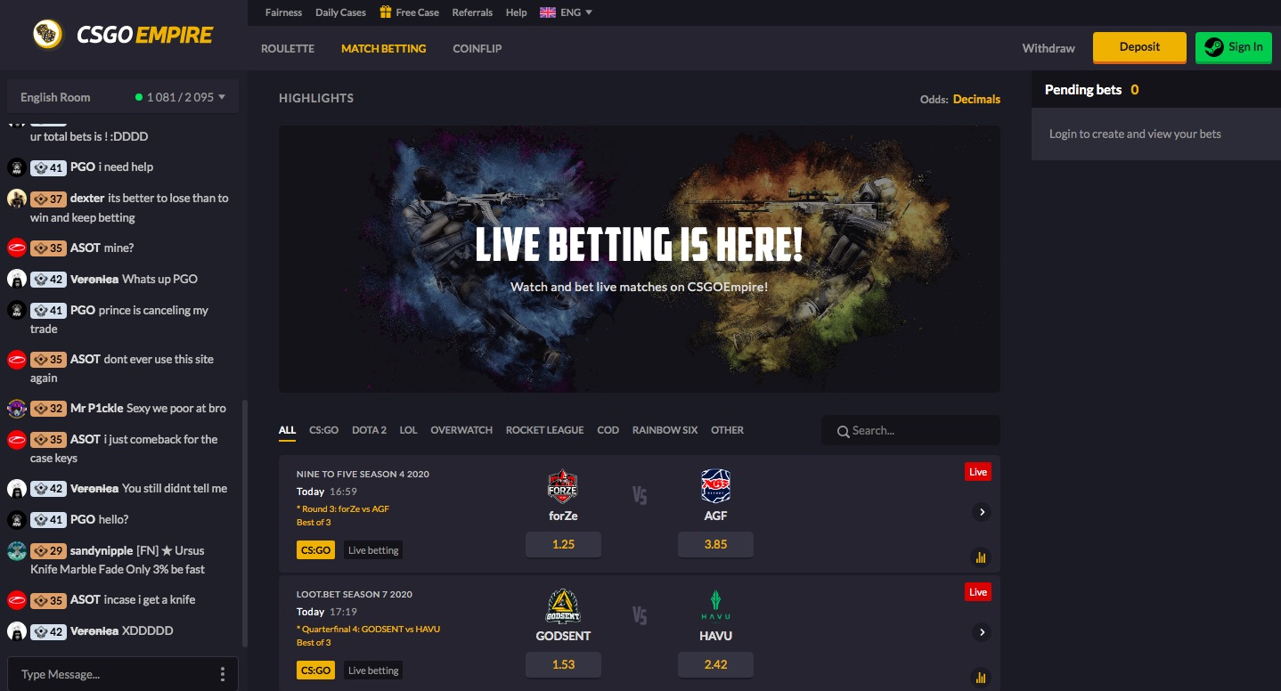 CSGOEmpire match betting