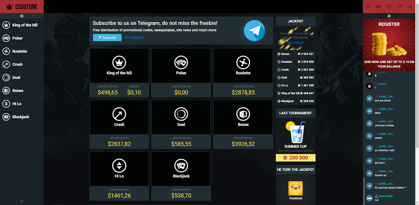 CSGOTune main page